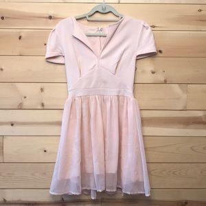 Pink chiffon Tobi short skater dress size M